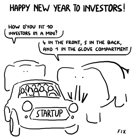 Happy New Year To Investors! How d'you put 10 investors in a Mini - 4 in front 5 in the back and 1 in the glove compartment