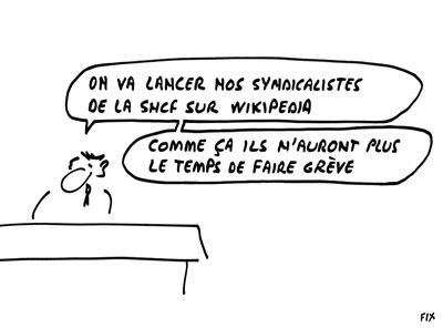 """Les clients de la SNCF pourraient aussi contribuer sur Wikipedia. Par exemple, à l'article """"SNCF""""."""